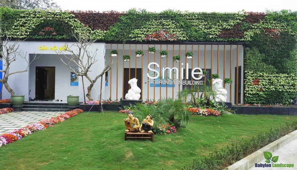 Thi công vườn đứng nhà mẫu Trung Yên Smile Building