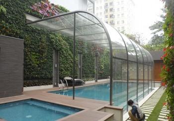 Thi công vườn đứng tại khu bể bơi biệt thự Mỹ Đình II